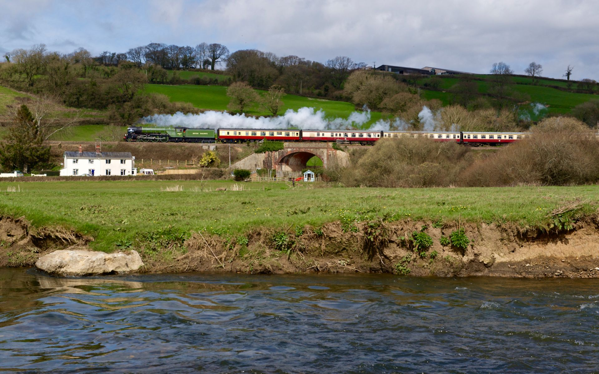 Steam service passes through the countryside
