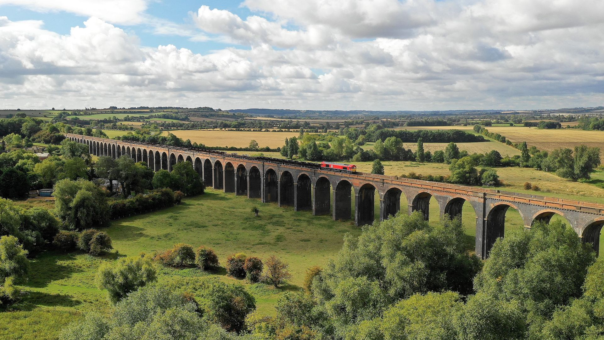 UK rail freight service in the countryside